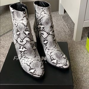 Fashion nova snake skin booties